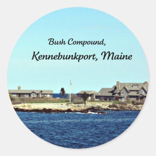 Compuesto de Bush, Kennebunkport, Maine Pegatina Redonda