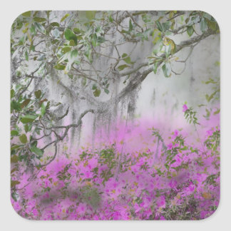 Compuesto de Digitaces de azaleas y del árbol de Pegatina Cuadrada