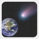 Compuesto de Digitaces de un título del cometa Pegatina Cuadrada