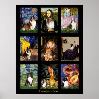 Compuesto famoso del arte del perro pastor de Shet Impresiones