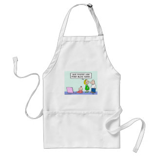 computer baby posted first blog today apron
