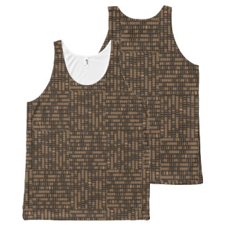 """Computer/Binary Code - Brown/Tan"" All-Over-Print Tank Top"
