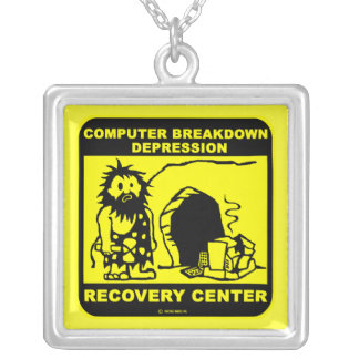 Computer breakdown depression recovery center square pendant necklace