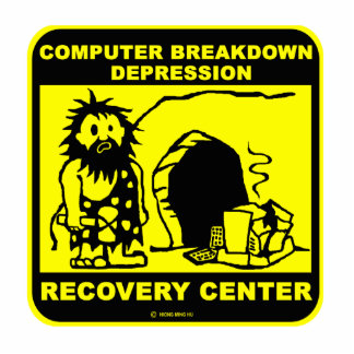 Computer breakdown depression recovery center statuette