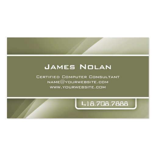 Computer Business Cards Olive Abstract Rays