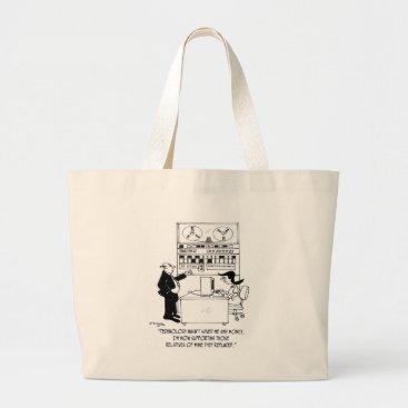 Professional Business Computer Cartoon 4311 Large Tote Bag