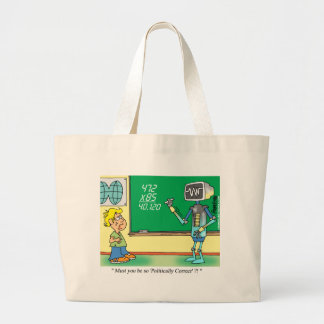 Computer Cartoon Robot in classroom Canvas Bags