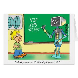 Computer Cartoon Robot in classroom Card