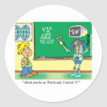 Computer Cartoon Robot in classroom Classic Round Sticker