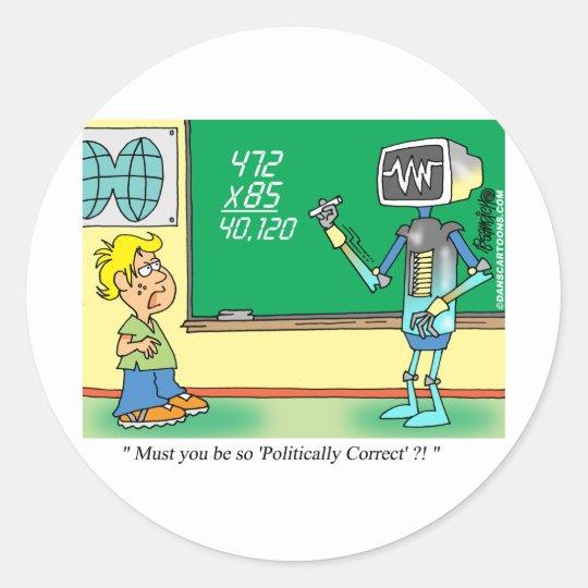 Computer Cartoon Robot in classroom Classic Round Sticker