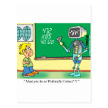 Computer Cartoon Robot in classroom Postcard