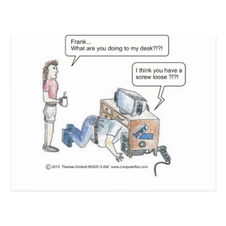 Computer Cartoon-Screw Loose Postcard