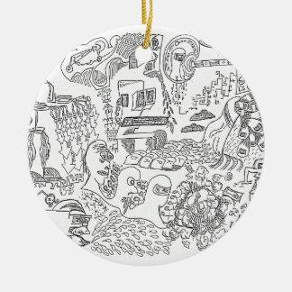 Computer Century Doodle by Sam Backhouse Ceramic Ornament