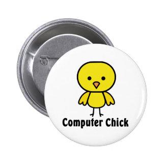 Computer Chick Pinback Button