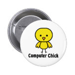 Computer Chick Pinback Button