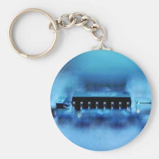 Computer Chip Basic Round Button Keychain