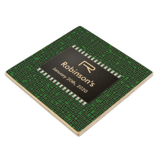 Computer Chip on Green Board +Add Your Information Wooden Coaster