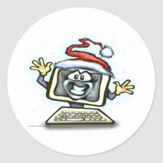 Computer Christmas Classic Round Sticker at Zazzle