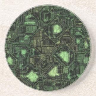 Computer circuit background beverage coasters