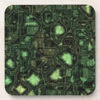 Computer circuit background beverage coaster