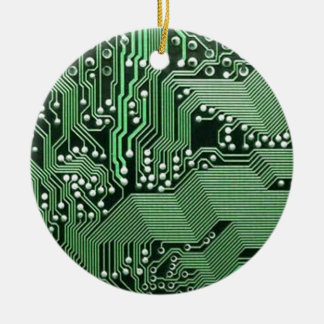 Computer circuit board Double-Sided ceramic round christmas ornament