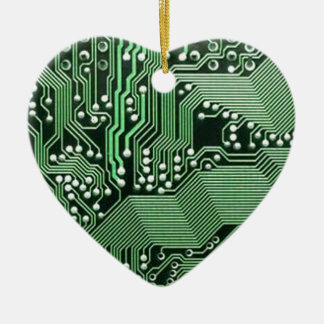 Computer circuit board Double-Sided heart ceramic christmas ornament