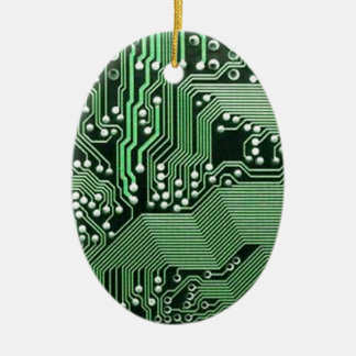 Computer circuit board Double-Sided oval ceramic christmas ornament