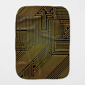 Computer circuit board pattern baby burp cloth