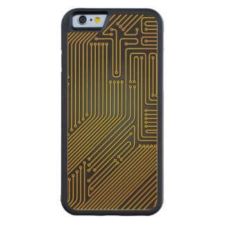 Computer circuit board pattern carved maple iPhone 6 bumper case