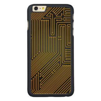 Computer circuit board pattern carved maple iPhone 6 plus case
