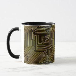 Computer circuit board pattern mug