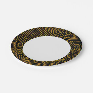 Computer circuit board pattern paper plate