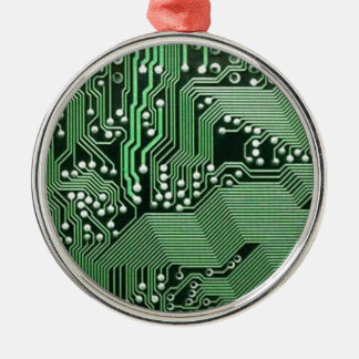 Computer circuit board round metal christmas ornament