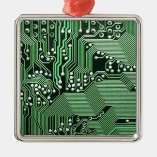 Computer circuit board square metal christmas ornament