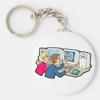 Computer Class Lessons Basic Round Button Keychain