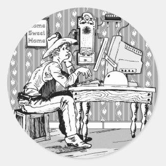 Computer Cowboy Classic Round Sticker
