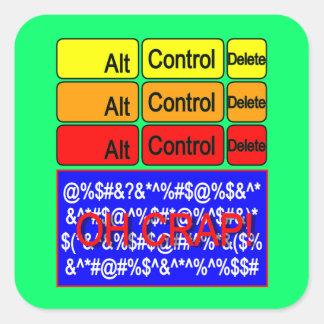 computer crash square stickers