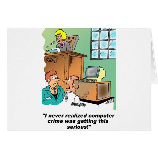 Computer Crime Cartoon Greeting Card