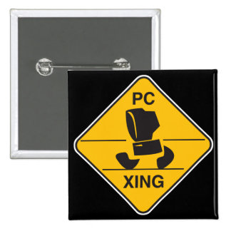 computer crossing (xing) sign pinback button