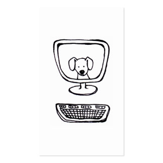 Computer Dog - fun fresh ink drawing new art Double-Sided Standard Business Cards (Pack Of 100)