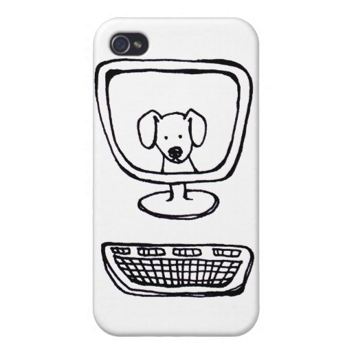 Computer Dog - fun fresh ink drawing new art iPhone 4/4S Cases