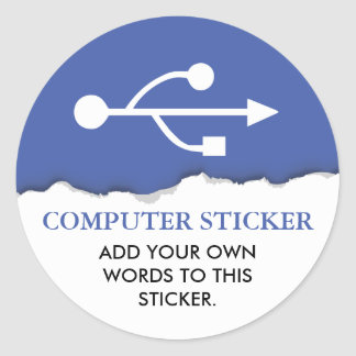Computer/Electronics Custom Text Classic Round Sticker