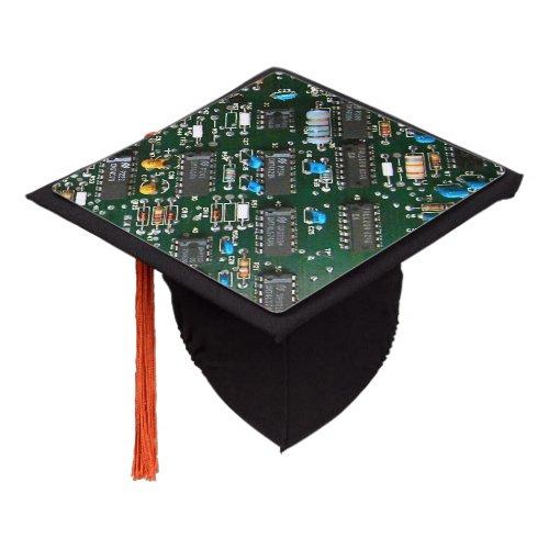 Computer Electronics Printed Circuit Board Image Graduation Cap Topper