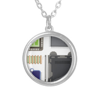 Computer Elements Silver Plated Necklace