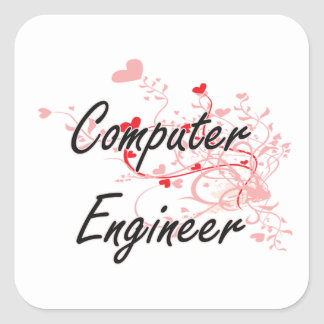 Computer Engineer Artistic Job Design with Hearts Square Sticker