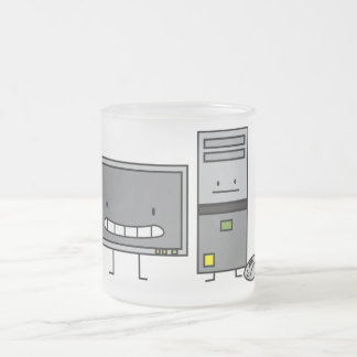 Computer Family IT Screen Mouse PC Tower Frosted Glass Coffee Mug