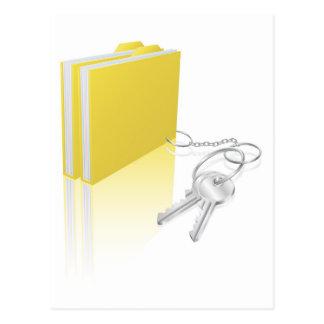 Computer file keys document security concept postcards