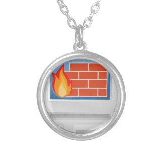 Computer Firewall Silver Plated Necklace