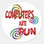Computer Fun Round Stickers