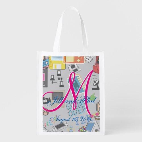 Computer Game Theme Wedding Grocery Bag